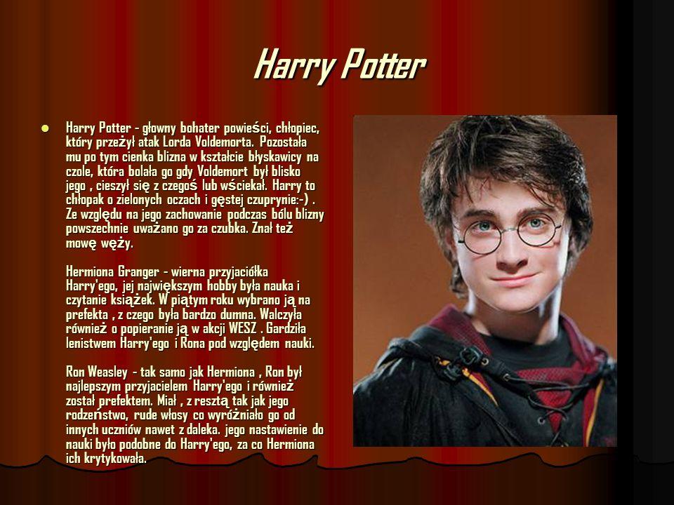 Harry Potter Harry Potter - głowny bohater powie ś ci, chłopiec, który prze ż ył atak Lorda Voldemorta. Pozostała mu po tym cienka blizna w kształcie