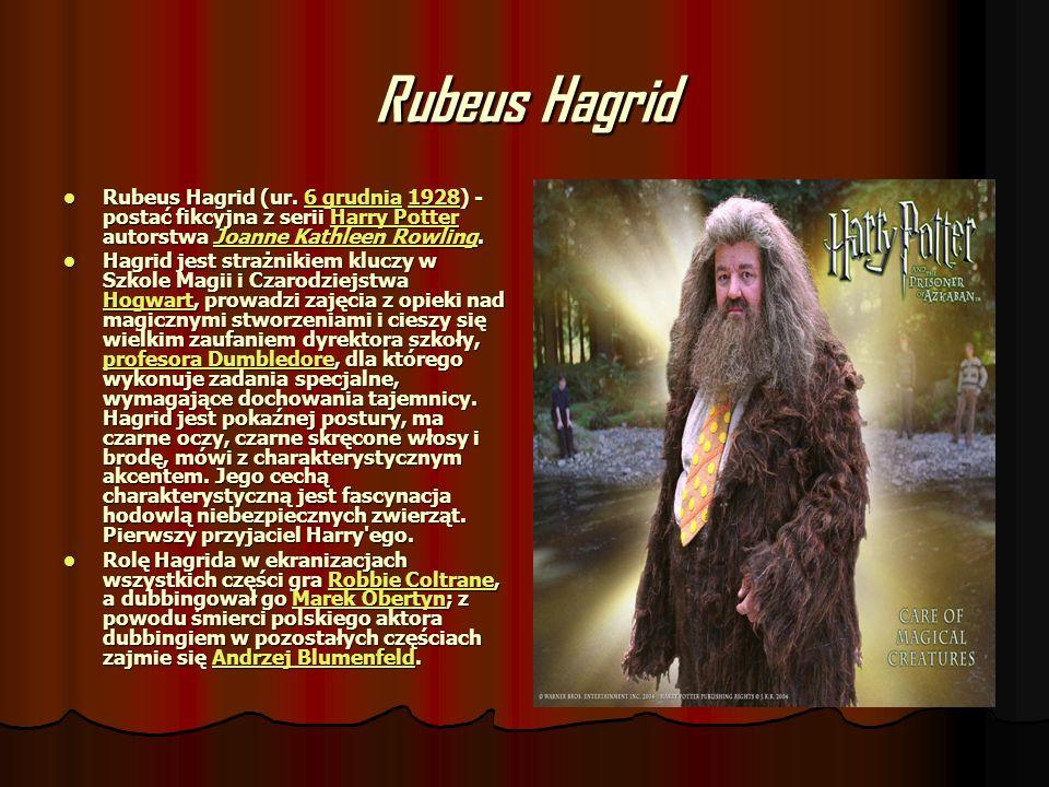 Rubeus Hagrid Rubeus Hagrid (ur. 6 grudnia 1928) - postać fikcyjna z serii Harry Potter autorstwa Joanne Kathleen Rowling. Rubeus Hagrid (ur. 6 grudni