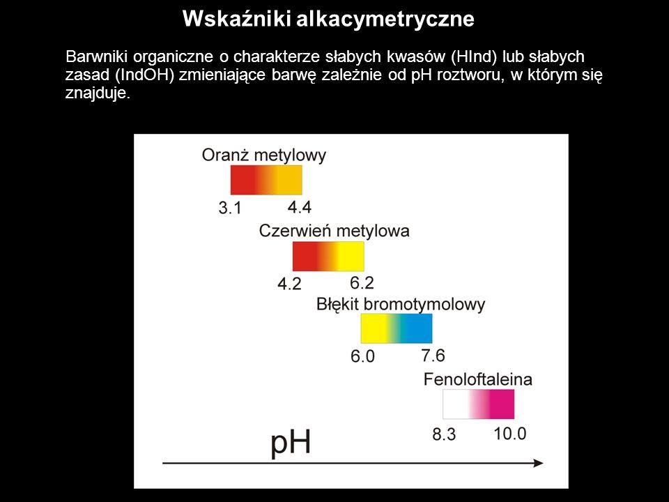 Wskaźniki alkacymetryczne Barwniki organiczne o charakterze słabych kwasów (HInd) lub słabych zasad (IndOH) zmieniające barwę zależnie od pH roztworu,