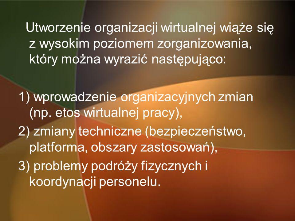 Utworzenie organizacji wirtualnej wiąże się z wysokim poziomem zorganizowania, który można wyrazić następująco: 1) wprowadzenie organizacyjnych zmian