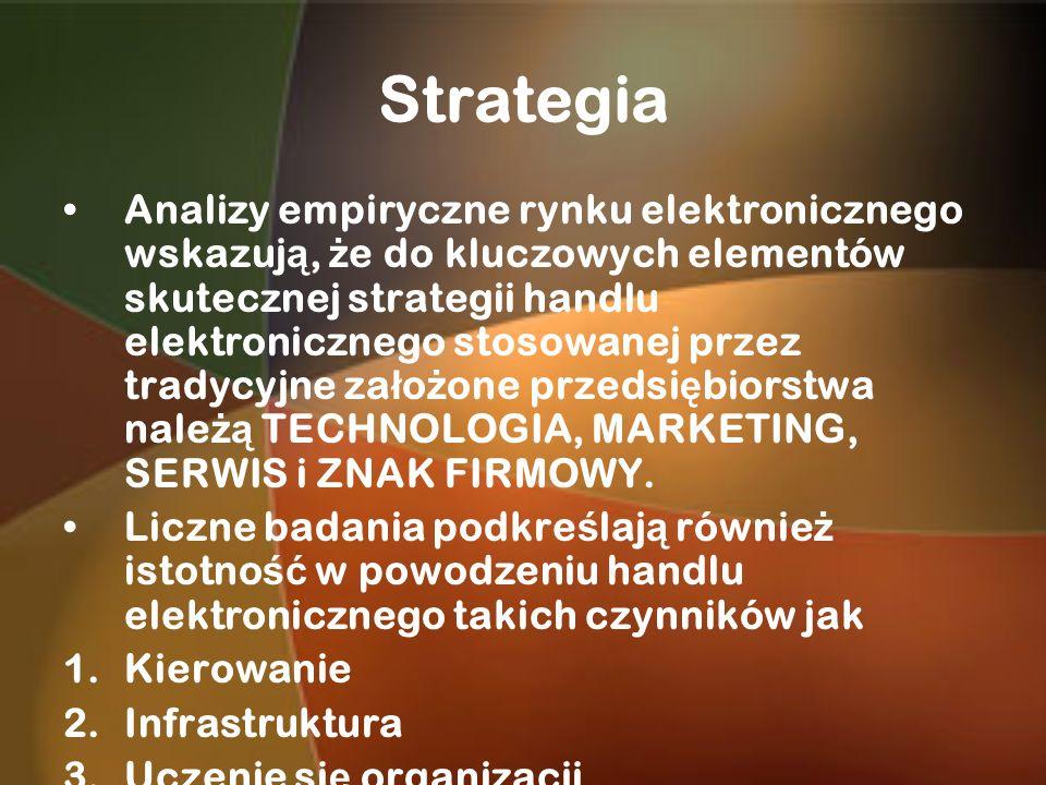 Strategia Analizy empiryczne rynku elektronicznego wskazuj ą, ż e do kluczowych elementów skutecznej strategii handlu elektronicznego stosowanej przez