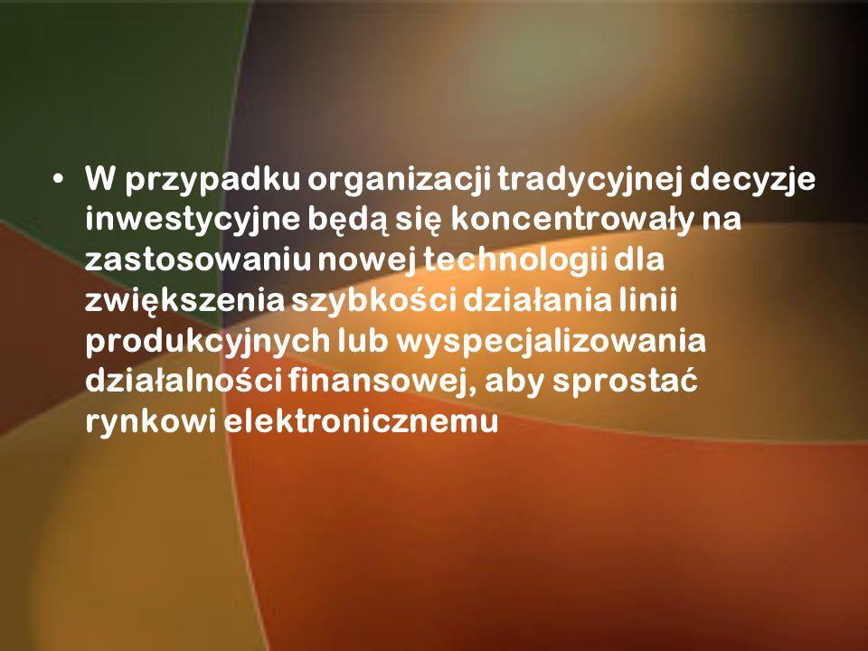 W przypadku organizacji tradycyjnej decyzje inwestycyjne b ę d ą si ę koncentrowa ł y na zastosowaniu nowej technologii dla zwi ę kszenia szybko ś ci