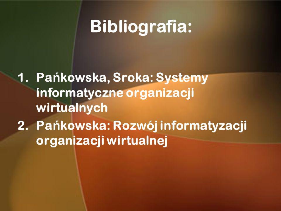 Bibliografia: 1.Pa ń kowska, Sroka: Systemy informatyczne organizacji wirtualnych 2.Pa ń kowska: Rozwój informatyzacji organizacji wirtualnej