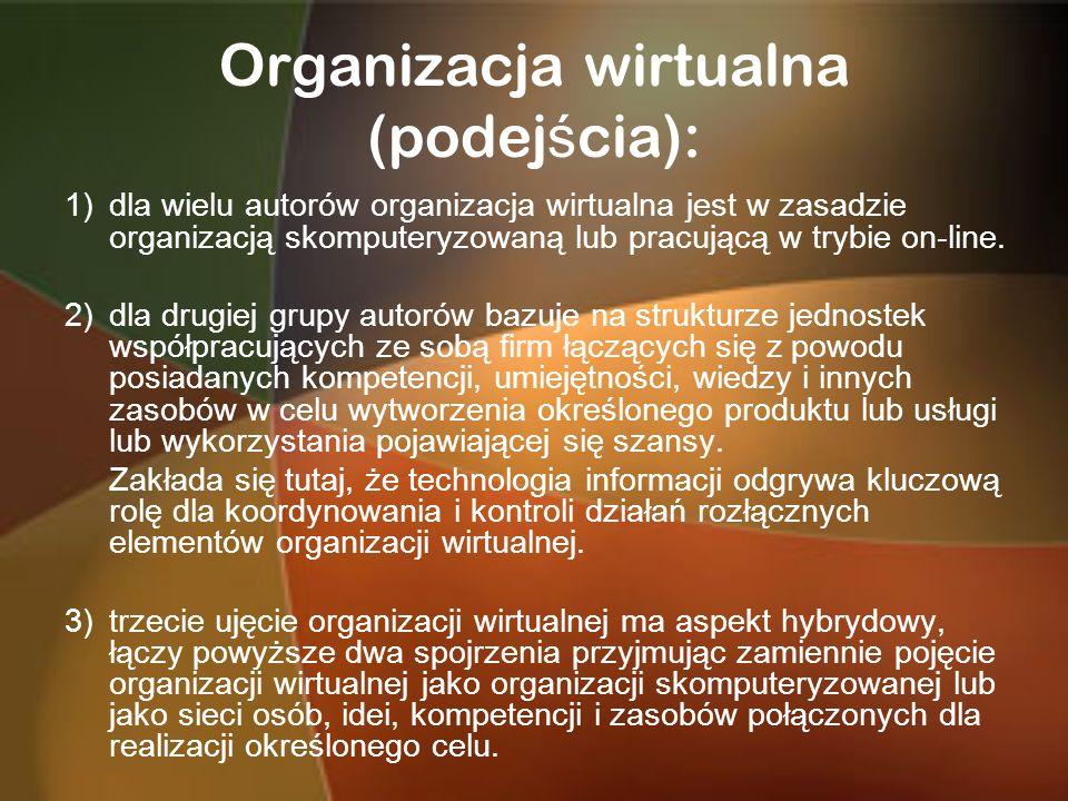 Organizacja wirtualna (podej ś cia): 1)dla wielu autorów organizacja wirtualna jest w zasadzie organizacją skomputeryzowaną lub pracującą w trybie on-