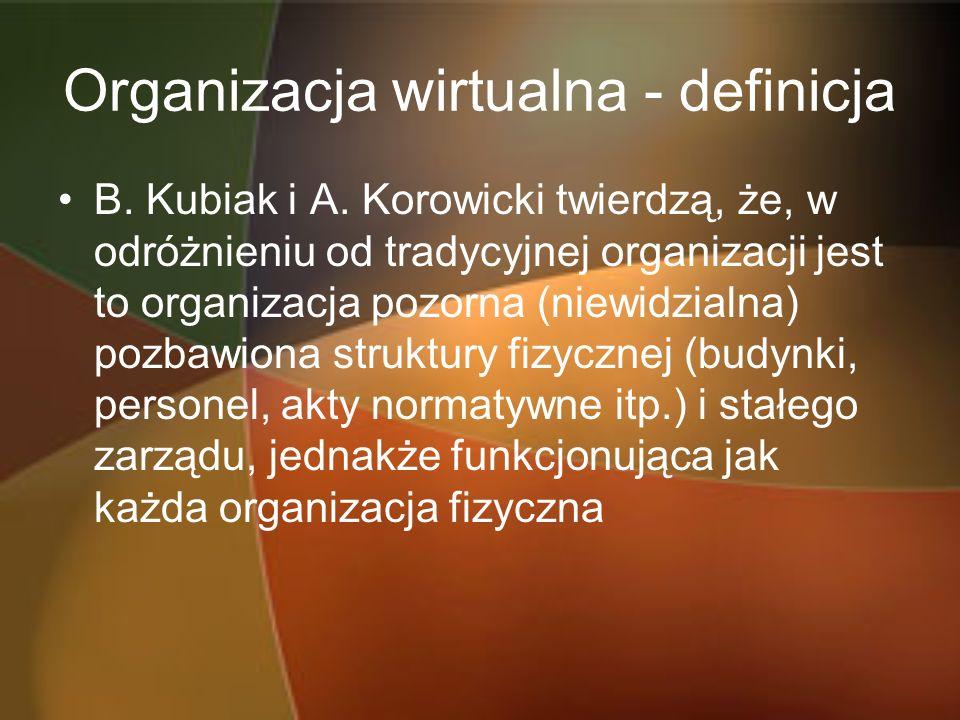 Organizacja wirtualna - definicja B. Kubiak i A. Korowicki twierdzą, że, w odróżnieniu od tradycyjnej organizacji jest to organizacja pozorna (niewidz