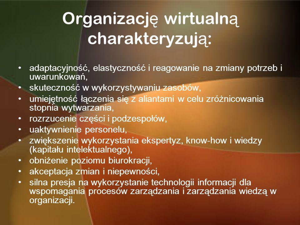 Organizacj ę wirtualn ą charakteryzuj ą : adaptacyjność, elastyczność i reagowanie na zmiany potrzeb i uwarunkowań, skuteczność w wykorzystywaniu zaso