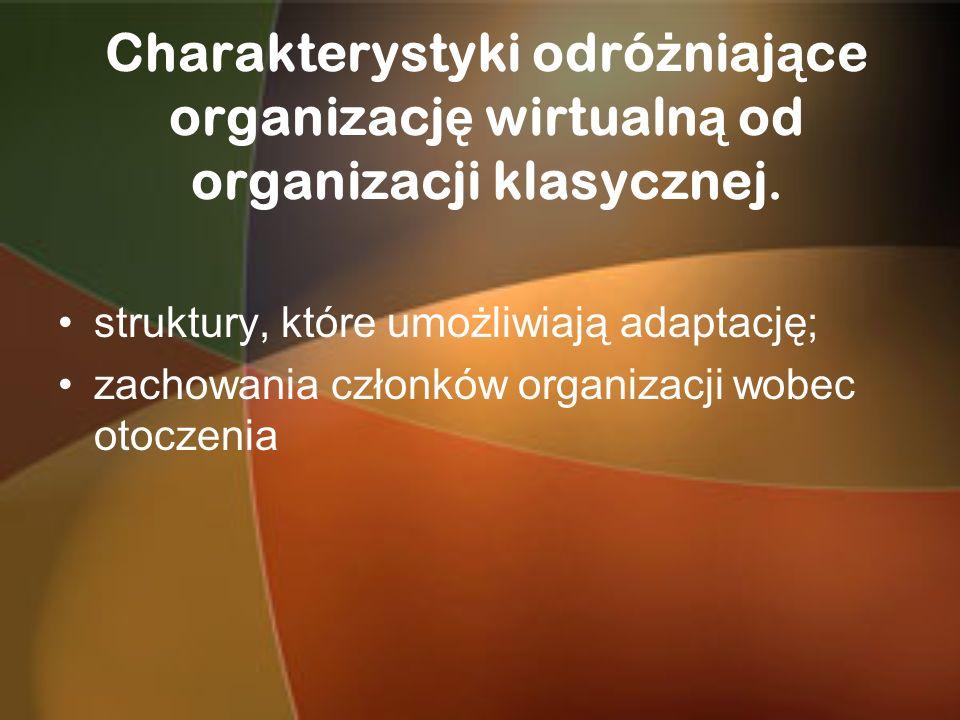 Charakterystyki odró ż niaj ą ce organizacj ę wirtualn ą od organizacji klasycznej. struktury, które umożliwiają adaptację; zachowania członków organi