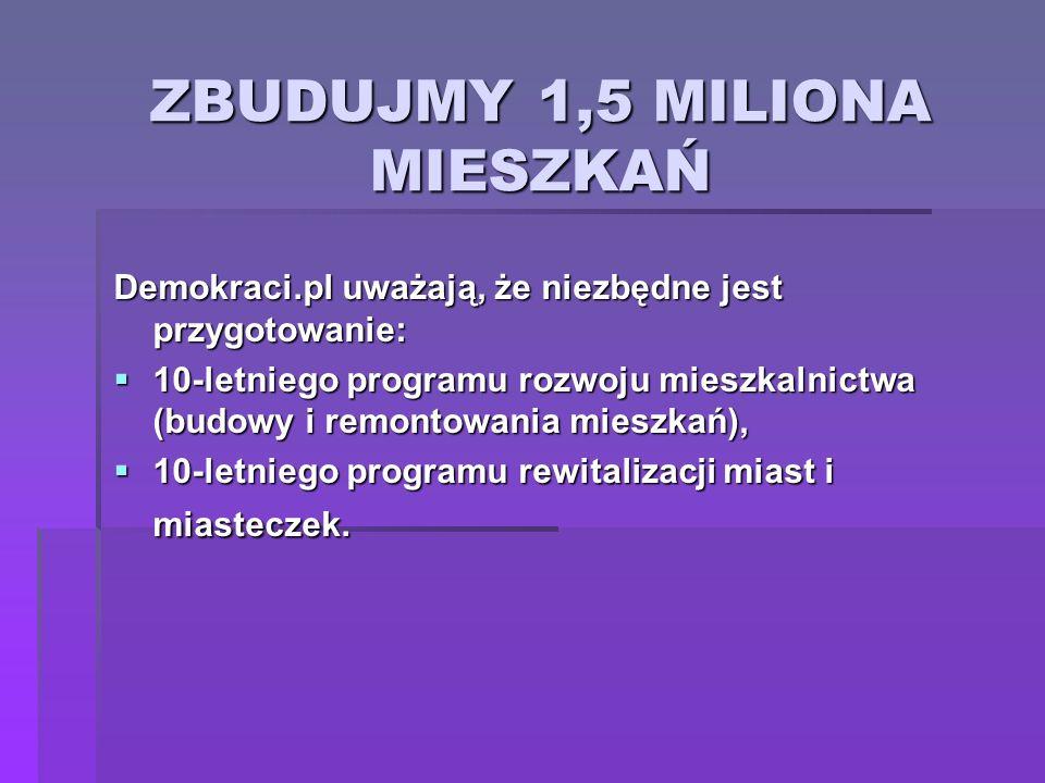 ZBUDUJMY 1,5 MILIONA MIESZKAŃ Demokraci.pl uważają, że niezbędne jest przygotowanie: 10-letniego programu rozwoju mieszkalnictwa (budowy i remontowani