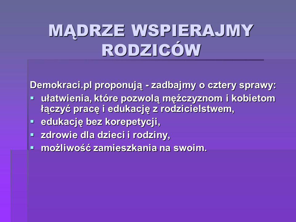 MĄDRZE WSPIERAJMY RODZICÓW Demokraci.pl proponują - zadbajmy o cztery sprawy: ułatwienia, które pozwolą mężczyznom i kobietom łączyć pracę i edukację