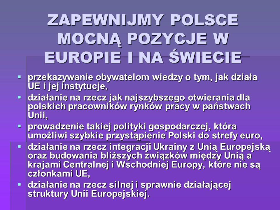ZAPEWNIJMY POLSCE MOCNĄ POZYCJE W EUROPIE I NA ŚWIECIE przekazywanie obywatelom wiedzy o tym, jak działa UE i jej instytucje, przekazywanie obywatelom