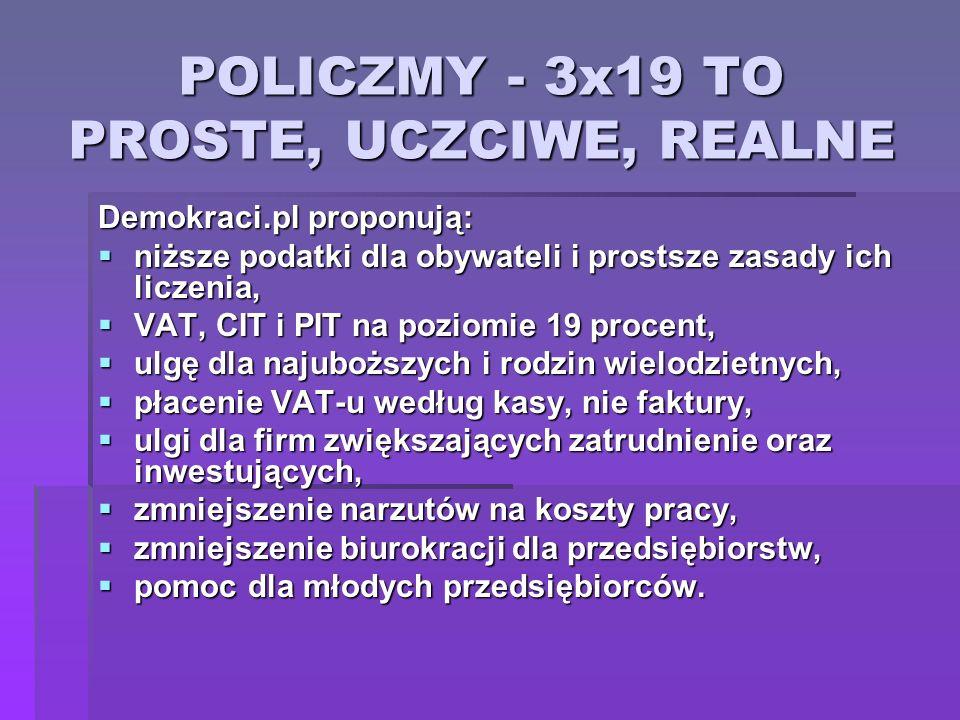 POLICZMY - 3x19 TO PROSTE, UCZCIWE, REALNE Demokraci.pl proponują: niższe podatki dla obywateli i prostsze zasady ich liczenia, niższe podatki dla oby