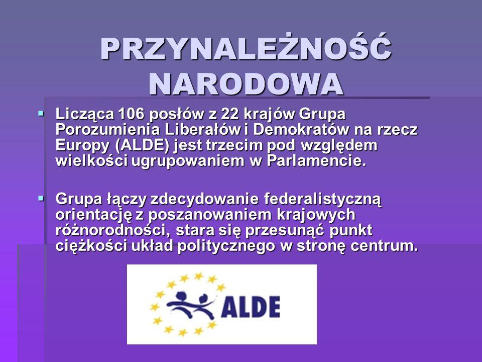 PRZYNALEŻNOŚĆ NARODOWA Licząca 106 posłów z 22 krajów Grupa Porozumienia Liberałów i Demokratów na rzecz Europy (ALDE) jest trzecim pod względem wielk