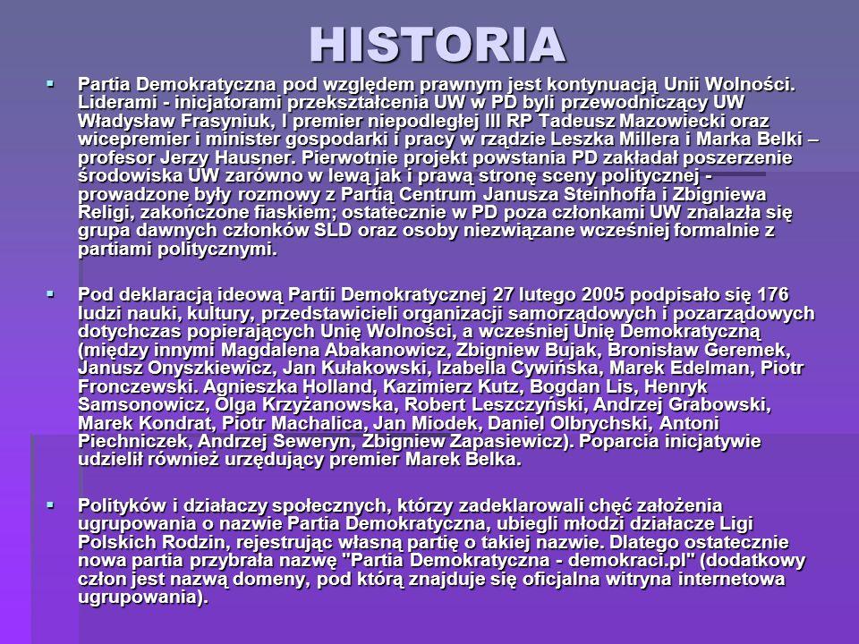 HISTORIA Partia Demokratyczna pod względem prawnym jest kontynuacją Unii Wolności. Liderami - inicjatorami przekształcenia UW w PD byli przewodniczący