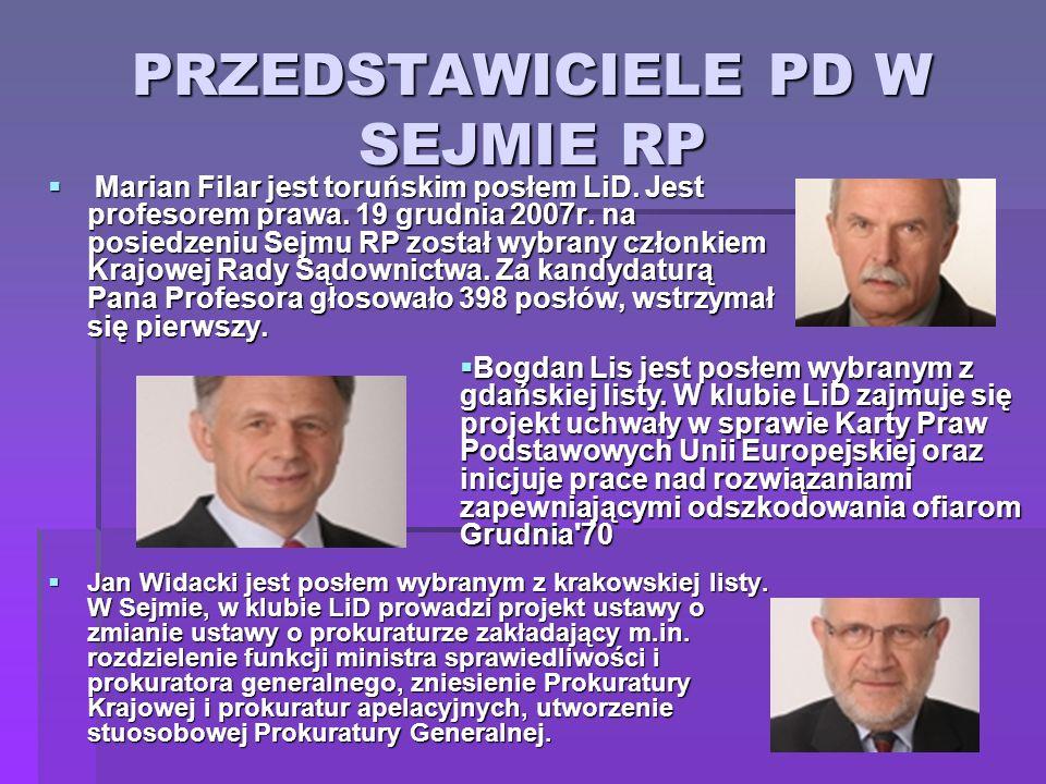 PRZEDSTAWICIELE PD W SEJMIE RP Marian Filar jest toruńskim posłem LiD. Jest profesorem prawa. 19 grudnia 2007r. na posiedzeniu Sejmu RP został wybrany
