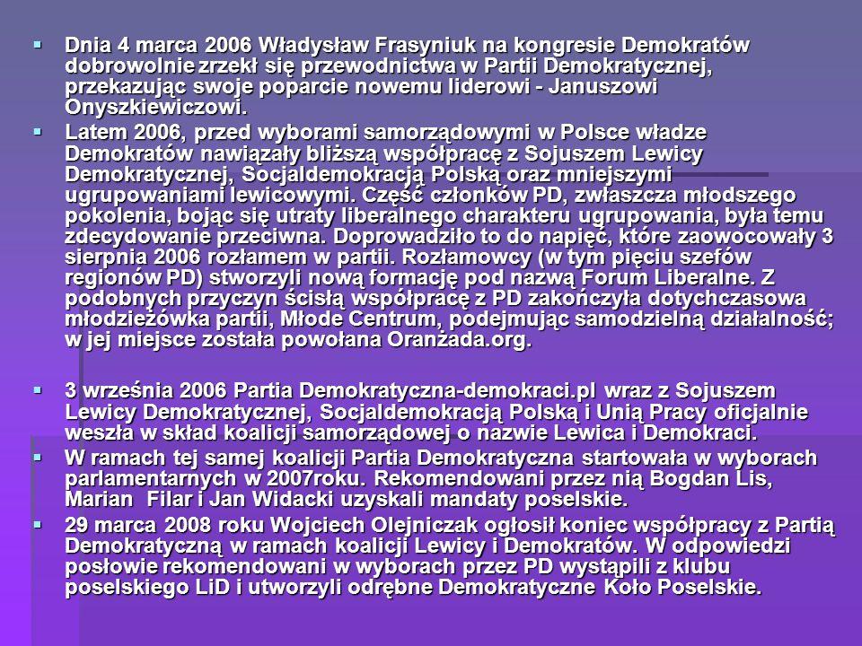 Dnia 4 marca 2006 Władysław Frasyniuk na kongresie Demokratów dobrowolnie zrzekł się przewodnictwa w Partii Demokratycznej, przekazując swoje poparcie