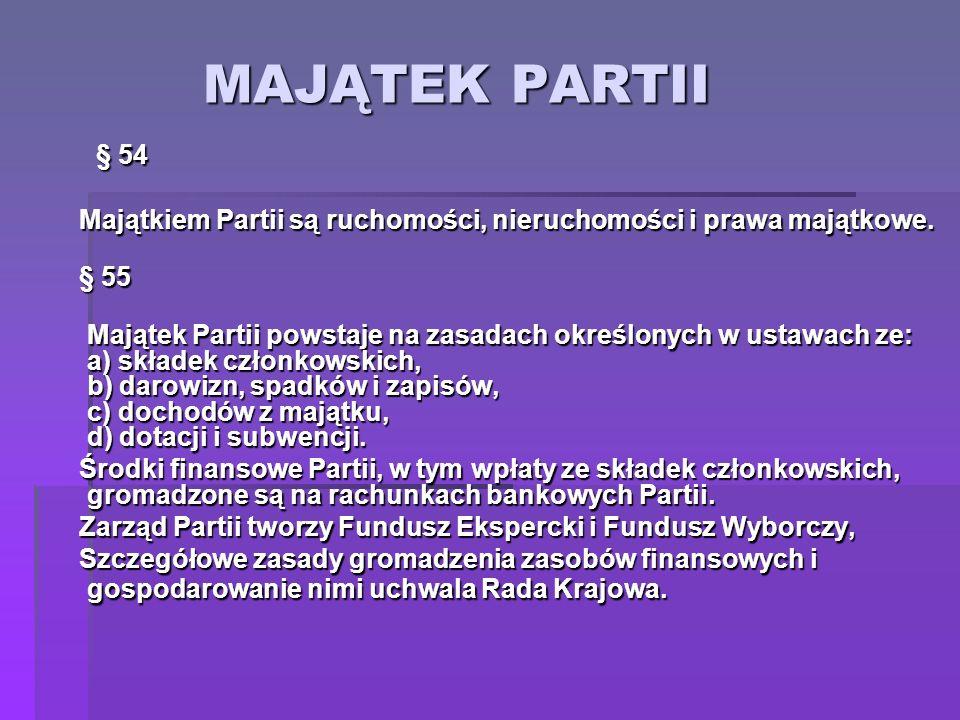 MAJĄTEK PARTII § 54 § 54 Majątkiem Partii są ruchomości, nieruchomości i prawa majątkowe. § 55 Majątek Partii powstaje na zasadach określonych w ustaw