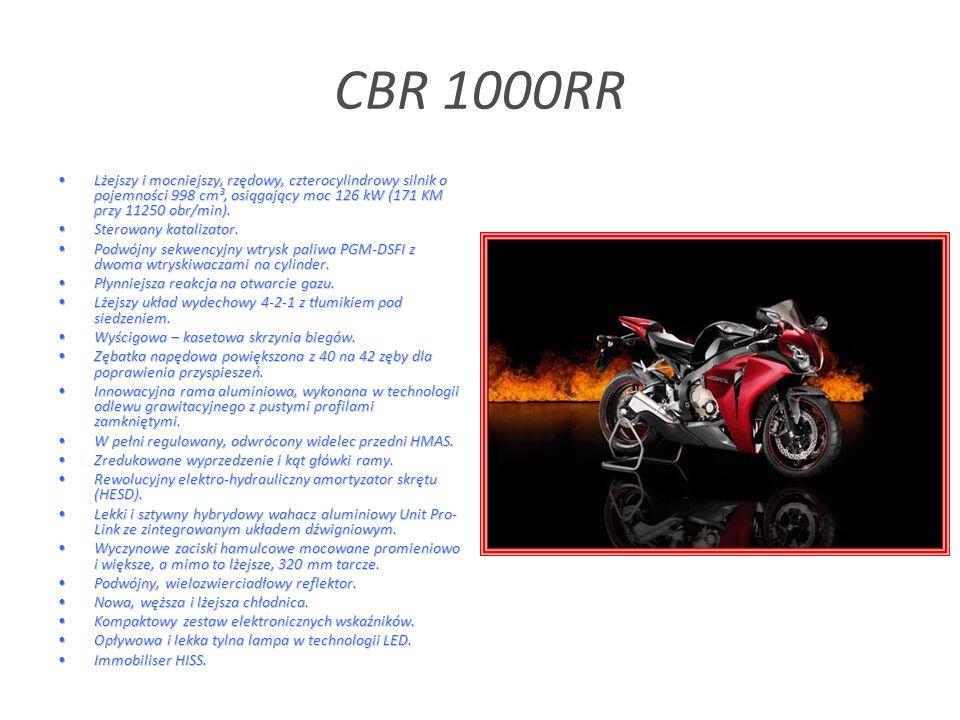 CBR 1000RR Lżejszy i mocniejszy, rzędowy, czterocylindrowy silnik o pojemności 998 cm³, osiągający moc 126 kW (171 KM przy 11250 obr/min).Lżejszy i mocniejszy, rzędowy, czterocylindrowy silnik o pojemności 998 cm³, osiągający moc 126 kW (171 KM przy 11250 obr/min).