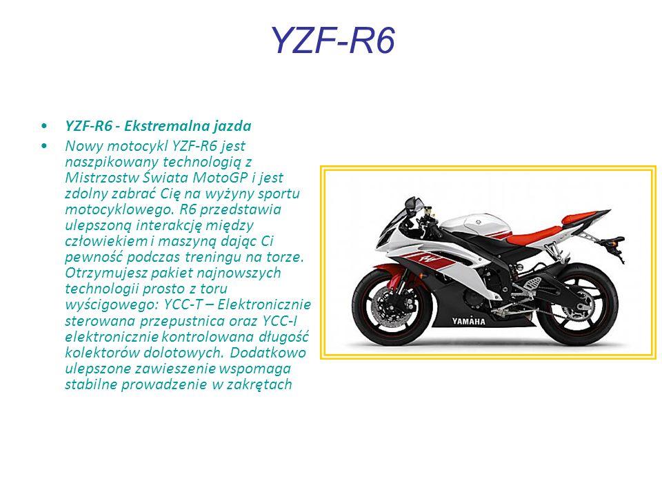YZF-R6 YZF-R6 - Ekstremalna jazda Nowy motocykl YZF-R6 jest naszpikowany technologią z Mistrzostw Świata MotoGP i jest zdolny zabrać Cię na wyżyny sportu motocyklowego.