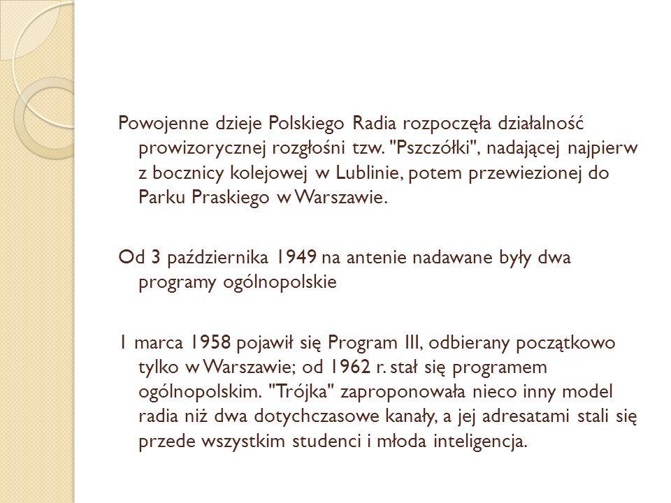 Powojenne dzieje Polskiego Radia rozpoczęła działalność prowizorycznej rozgłośni tzw.