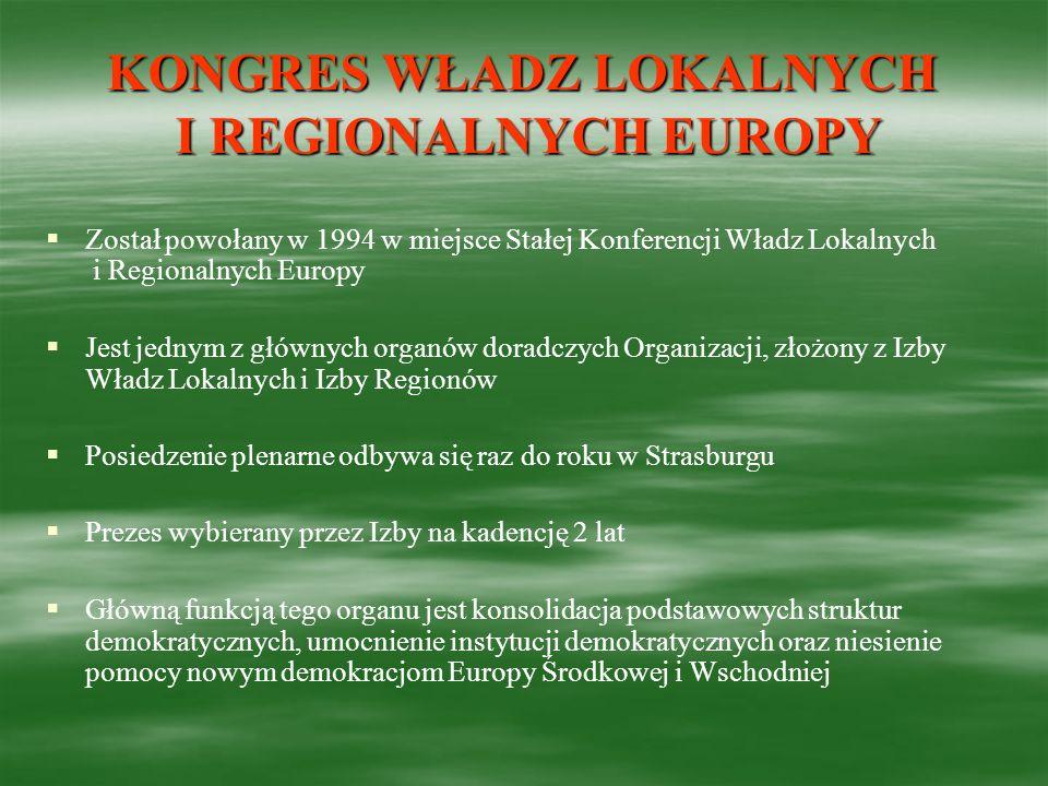 KONGRES WŁADZ LOKALNYCH I REGIONALNYCH EUROPY Został powołany w 1994 w miejsce Stałej Konferencji Władz Lokalnych i Regionalnych Europy Jest jednym z