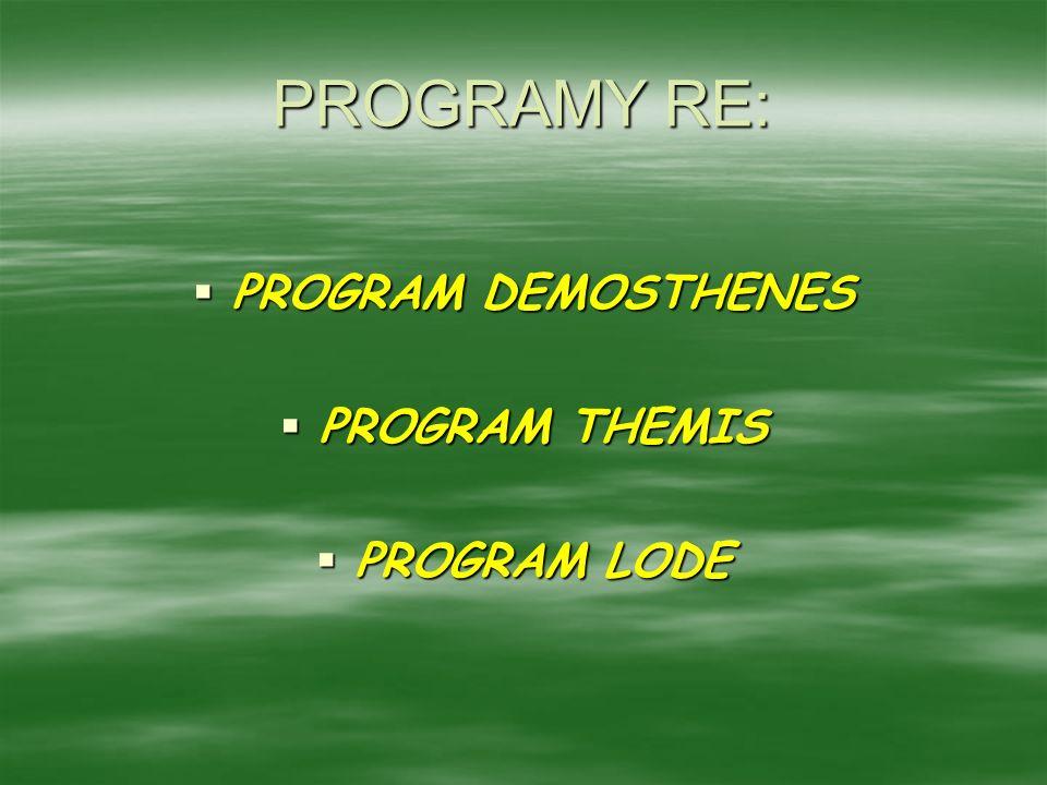 PROGRAMY RE: PROGRAM DEMOSTHENES PROGRAM DEMOSTHENES PROGRAM THEMIS PROGRAM THEMIS PROGRAM LODE PROGRAM LODE