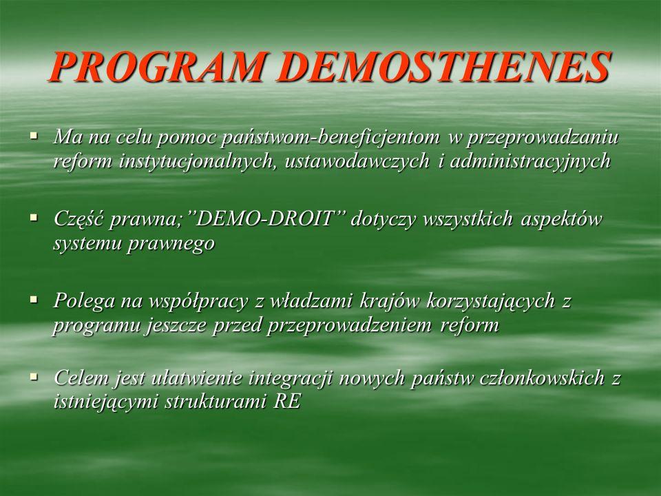 PROGRAM DEMOSTHENES Ma na celu pomoc państwom-beneficjentom w przeprowadzaniu reform instytucjonalnych, ustawodawczych i administracyjnych Ma na celu
