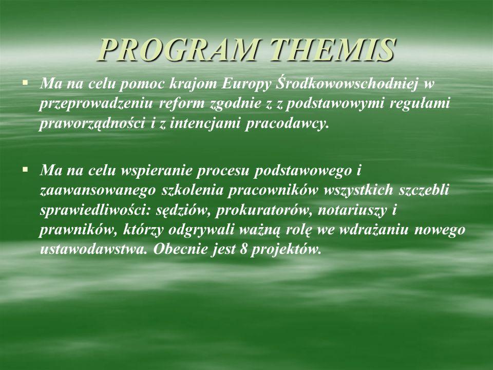 PROGRAM THEMIS Ma na celu pomoc krajom Europy Środkowowschodniej w przeprowadzeniu reform zgodnie z z podstawowymi regułami praworządności i z intencj