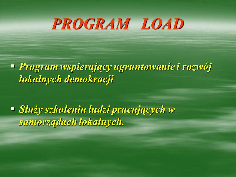 PROGRAM LOAD Program wspierający ugruntowanie i rozwój lokalnych demokracji Program wspierający ugruntowanie i rozwój lokalnych demokracji Służy szkol