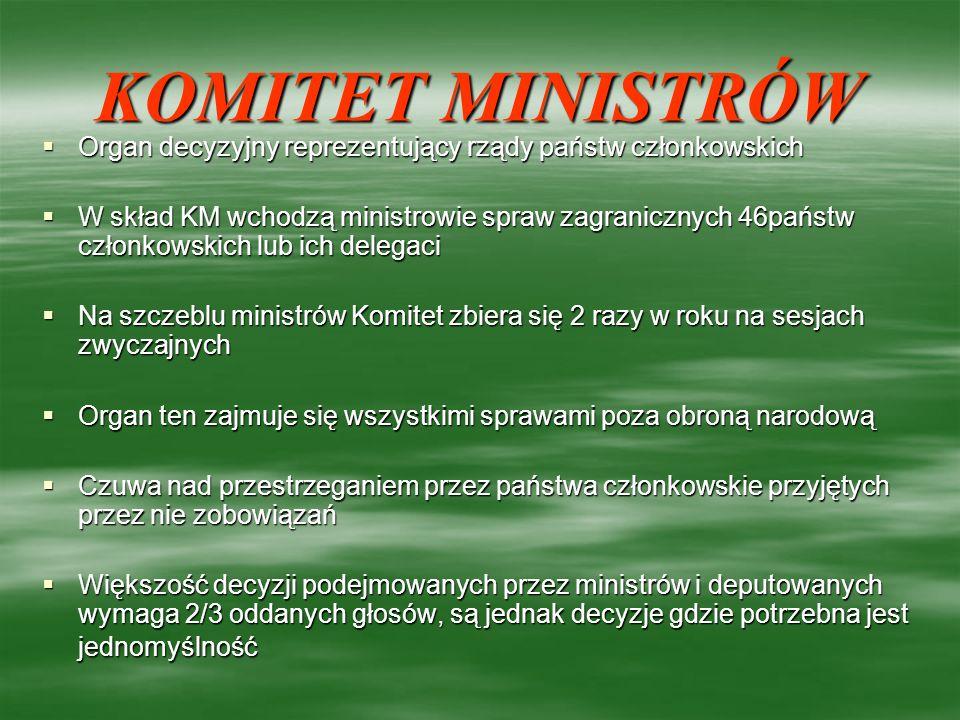 KOMITET MINISTRÓW Organ decyzyjny reprezentujący rządy państw członkowskich Organ decyzyjny reprezentujący rządy państw członkowskich W skład KM wchod
