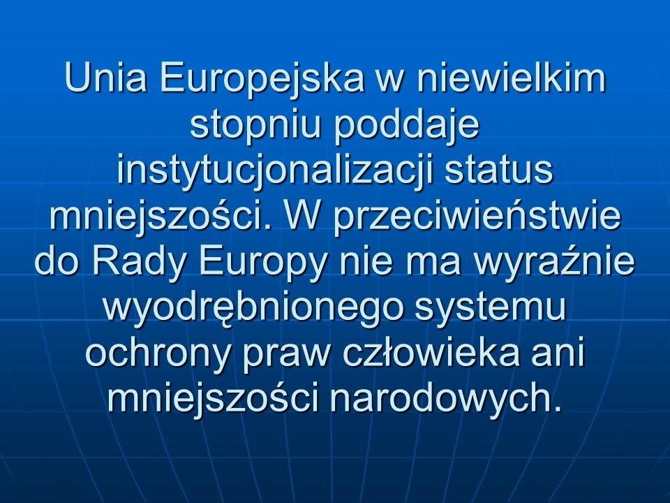 Unia Europejska w niewielkim stopniu poddaje instytucjonalizacji status mniejszości. W przeciwieństwie do Rady Europy nie ma wyraźnie wyodrębnionego s