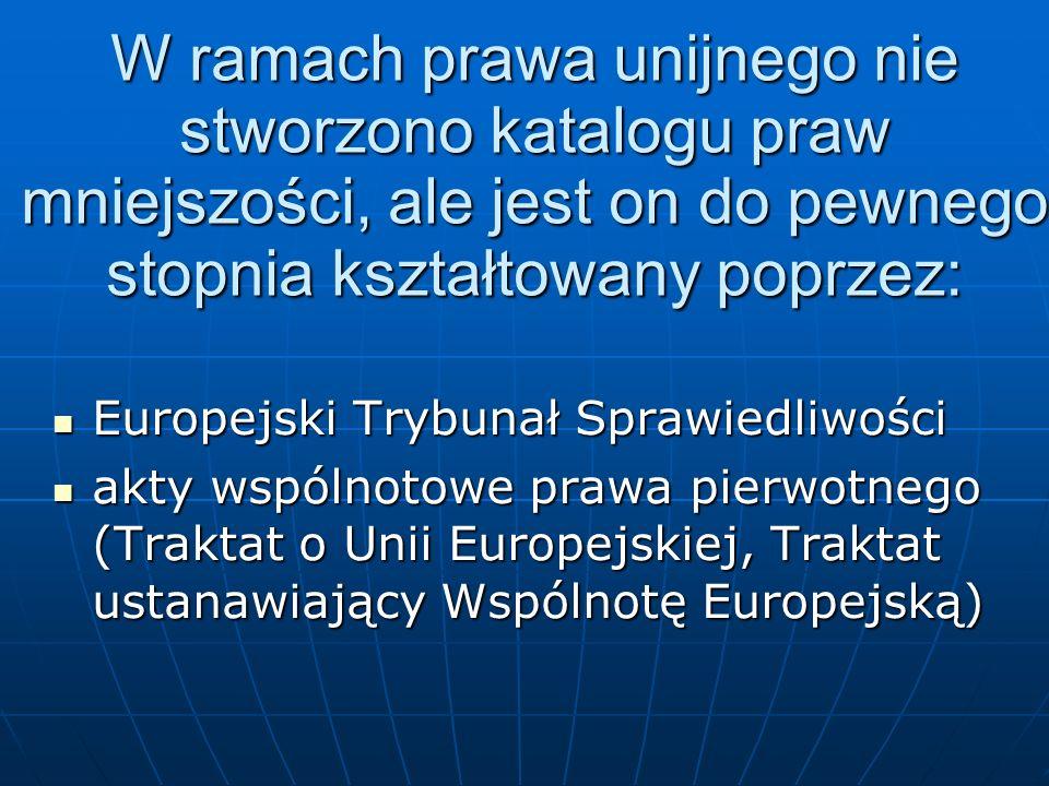 W ramach prawa unijnego nie stworzono katalogu praw mniejszości, ale jest on do pewnego stopnia kształtowany poprzez: Europejski Trybunał Sprawiedliwo