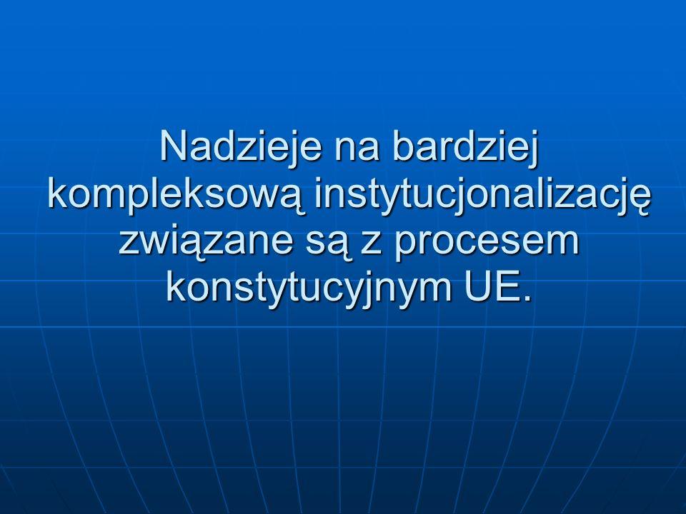 Nadzieje na bardziej kompleksową instytucjonalizację związane są z procesem konstytucyjnym UE.