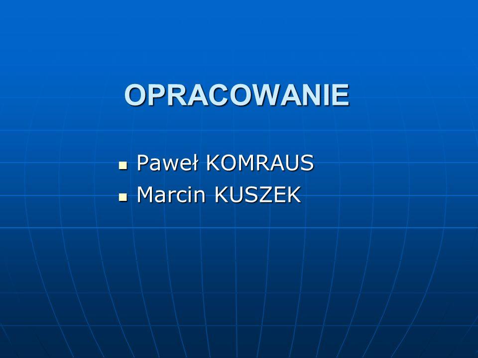 OPRACOWANIE Paweł KOMRAUS Paweł KOMRAUS Marcin KUSZEK Marcin KUSZEK