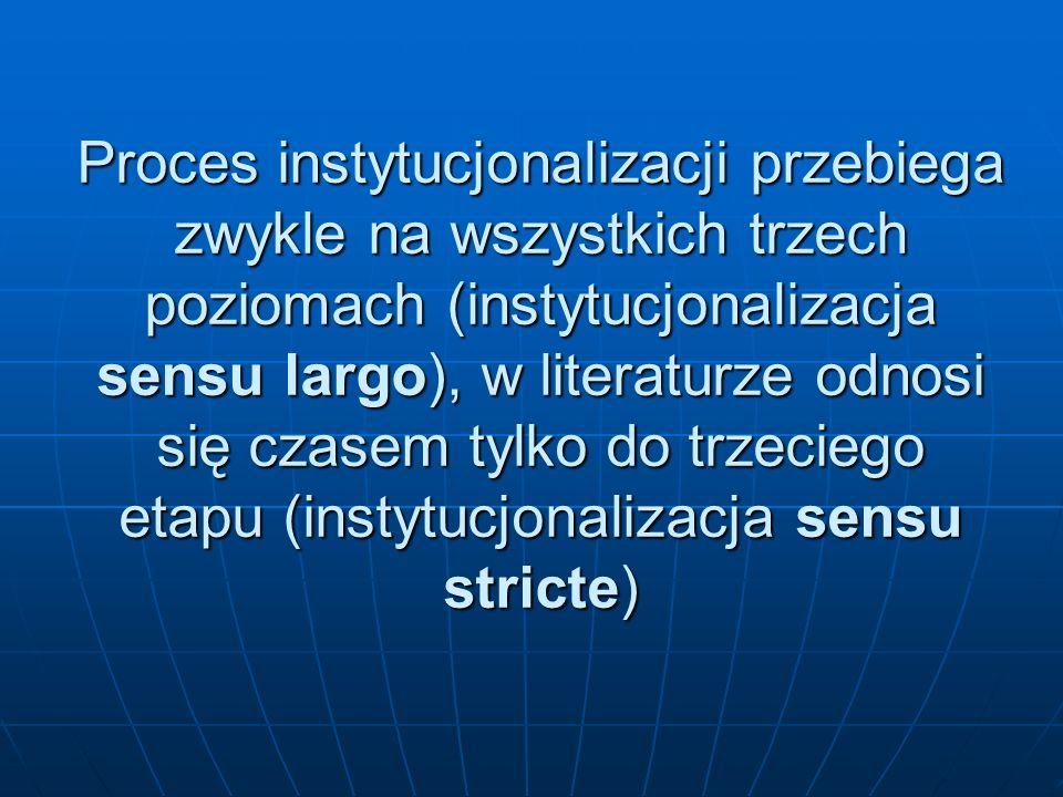 Proces instytucjonalizacji przebiega zwykle na wszystkich trzech poziomach (instytucjonalizacja sensu largo), w literaturze odnosi się czasem tylko do