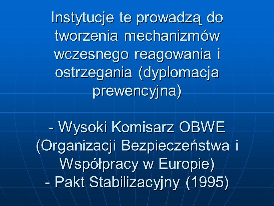 Instytucje te prowadzą do tworzenia mechanizmów wczesnego reagowania i ostrzegania (dyplomacja prewencyjna) - Wysoki Komisarz OBWE (Organizacji Bezpie