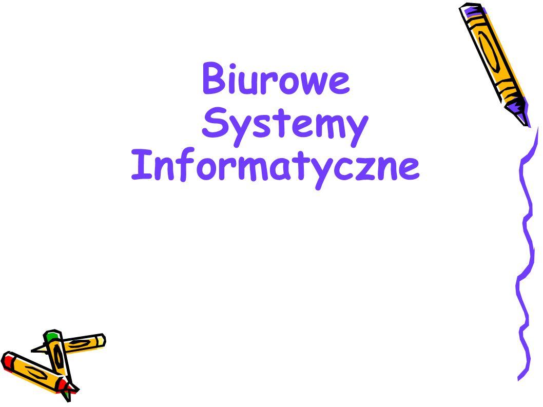Zastosowanie systemów biurowych : –A) systemów transakcyjnych w : obsłudze biur ewidencji finansowej planowaniu produkcji i zaopatrzenia –B) systemów wyszukiwania informacji w : internetowych bookingach turystycznych serwisach informacyjnych