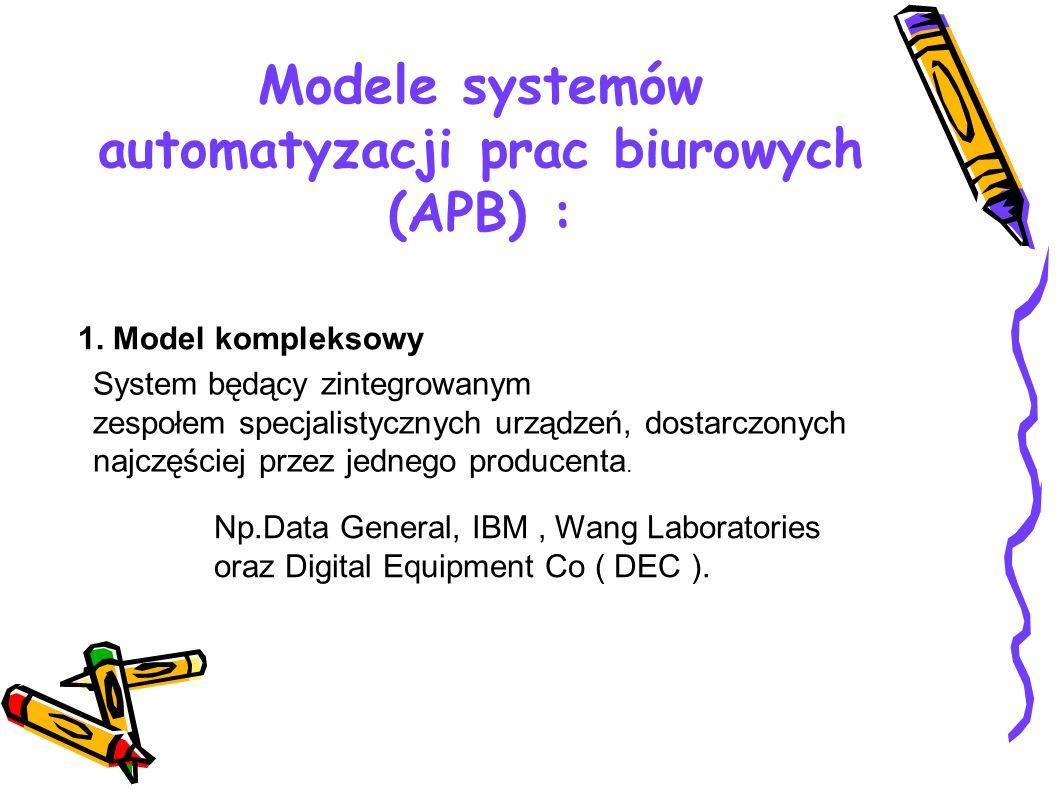 Modele systemów automatyzacji prac biurowych (APB) : 1. Model kompleksowy System będący zintegrowanym zespołem specjalistycznych urządzeń, dostarczony