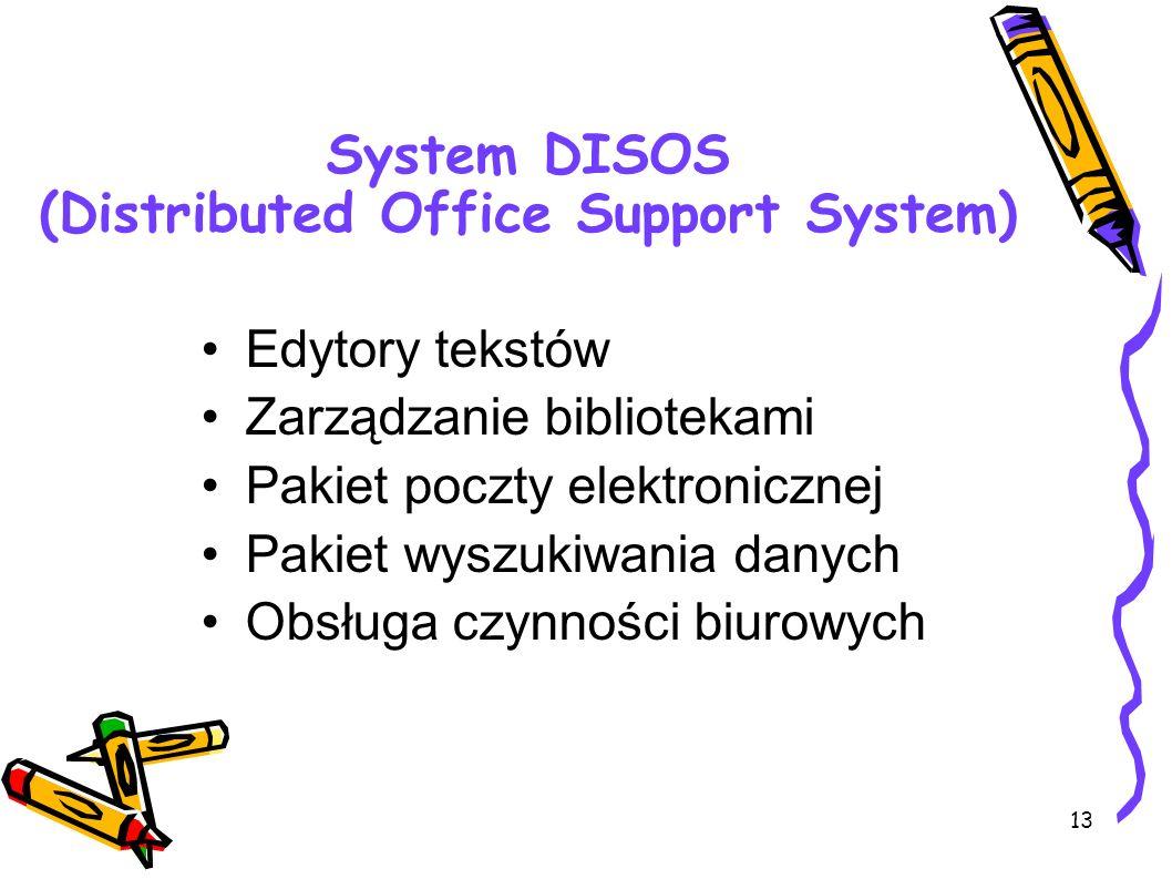 13 System DISOS (Distributed Office Support System) Edytory tekstów Zarządzanie bibliotekami Pakiet poczty elektronicznej Pakiet wyszukiwania danych O
