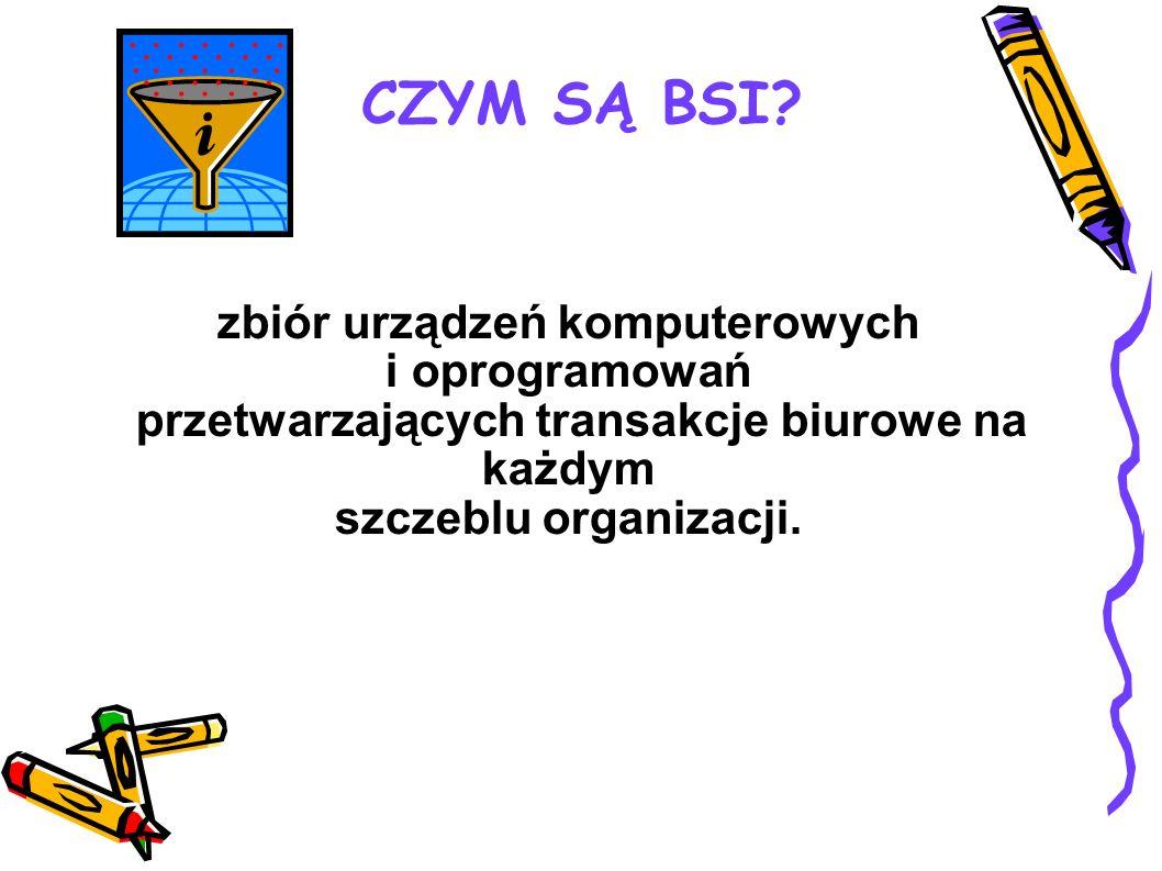zbiór urządzeń komputerowych i oprogramowań przetwarzających transakcje biurowe na każdym szczeblu organizacji. CZYM SĄ BSI?