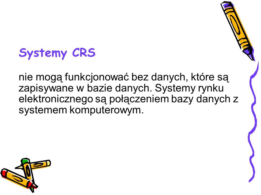 Systemy CRS nie mogą funkcjonować bez danych, które są zapisywane w bazie danych. Systemy rynku elektronicznego są połączeniem bazy danych z systemem