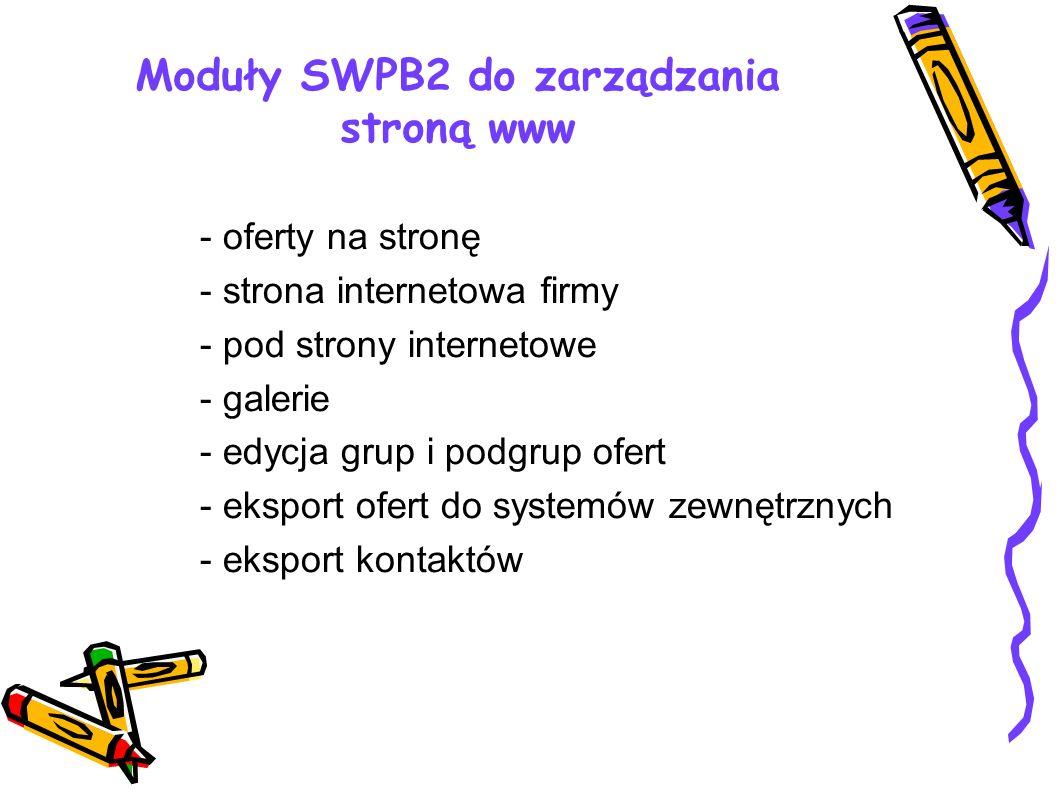 Moduły SWPB2 do zarządzania stroną www - oferty na stronę - strona internetowa firmy - pod strony internetowe - galerie - edycja grup i podgrup ofert