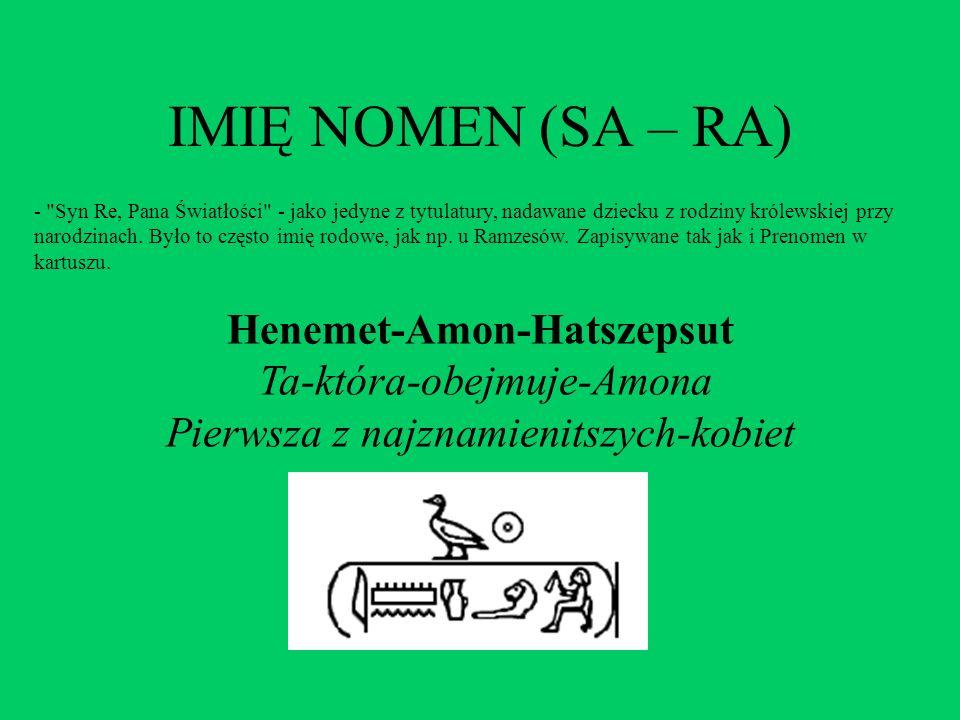 IMIĘ NOMEN (SA – RA) -
