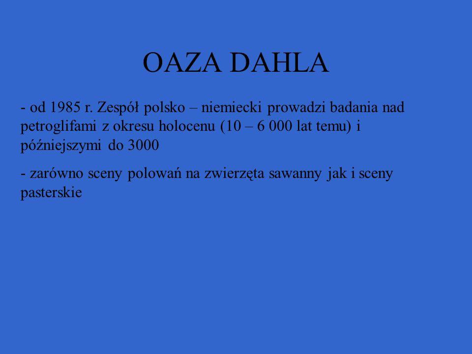 OAZA DAHLA - od 1985 r. Zespół polsko – niemiecki prowadzi badania nad petroglifami z okresu holocenu (10 – 6 000 lat temu) i późniejszymi do 3000 - z