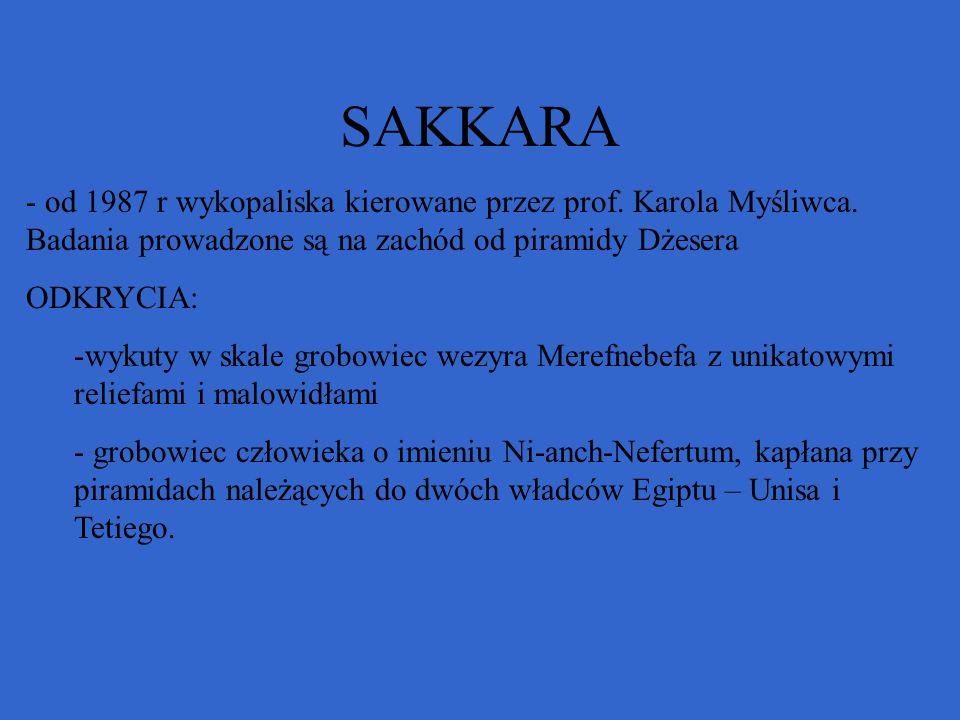 SAKKARA - od 1987 r wykopaliska kierowane przez prof. Karola Myśliwca. Badania prowadzone są na zachód od piramidy Dżesera ODKRYCIA: -wykuty w skale g