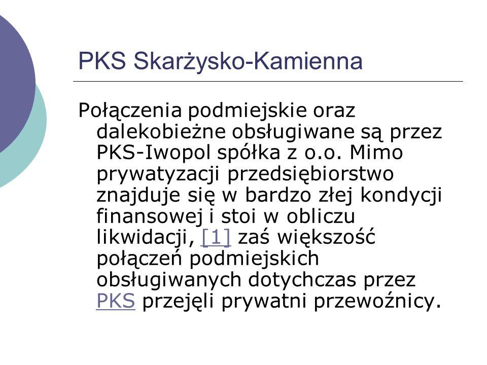 MKS - Miejska Komunikacja Samochodowa W Skarżysku-Kamiennej funkcjonuje Miejska Komunikacja Samochodowa, obsługująca około 20 linii na terenie miasta