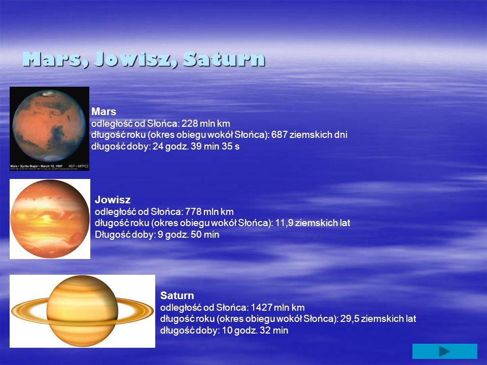Mars, Jowisz, Saturn Mars odległość od Słońca: 228 mln km długość roku (okres obiegu wokół Słońca): 687 ziemskich dni długość doby: 24 godz. 39 min 35