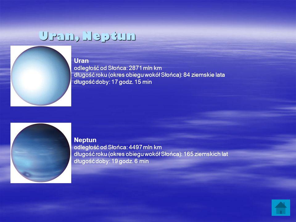 Uran, Neptun Uran odległość od Słońca: 2871 mln km długość roku (okres obiegu wokół Słońca): 84 ziemskie lata długość doby: 17 godz. 15 min Neptun odl