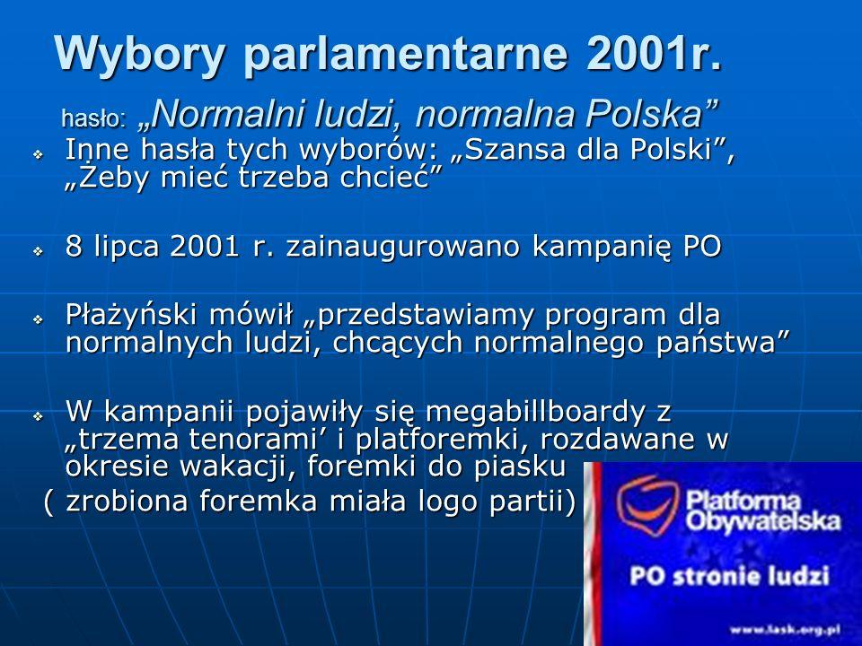 Wybory parlamentarne 2001r. hasło: Normalni ludzi, normalna Polska Inne hasła tych wyborów: Szansa dla Polski, Żeby mieć trzeba chcieć Inne hasła tych