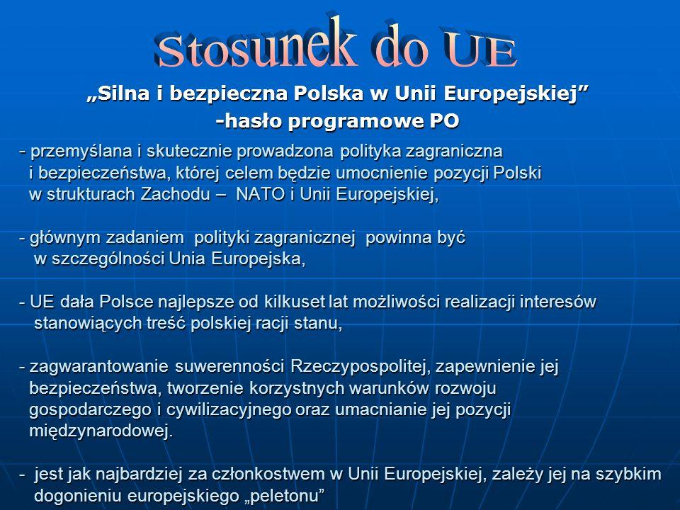 Silna i bezpieczna Polska w Unii Europejskiej -hasło programowe PO - przemyślana i skutecznie prowadzona polityka zagraniczna i bezpieczeństwa, której