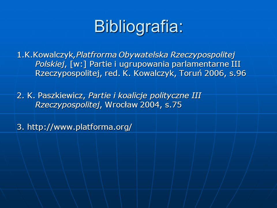 Bibliografia: 1.K.Kowalczyk,Platfrorma Obywatelska Rzeczypospolitej Polskiej, [w:] Partie i ugrupowania parlamentarne III Rzeczypospolitej, red. K. Ko